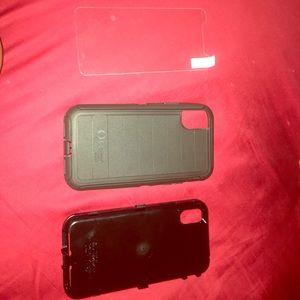 Otter box for IPhone X . Black Web tempered glass